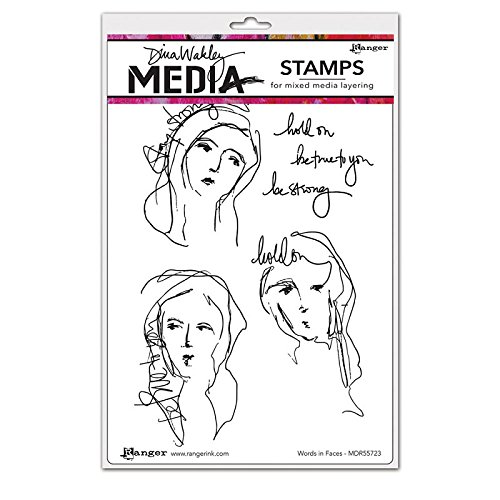 "Dina Wakley Media Cling Stamps 6""X9""-Words In Faces"