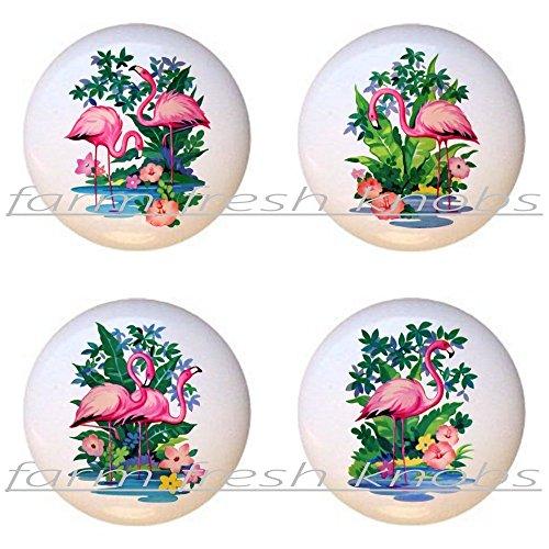 SET OF 4 KNOBS - Flamingo #ani105-108 - Flamingos - DECORATIVE Glossy CERAMIC Cupboard Cabinet PULLS Dresser Drawer KNOBS