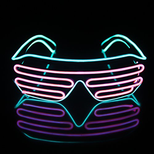 Light Up EL Wire Neon Shutter Glasses Flashing