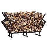 FireKing 65 by 54.5-Inch Premium Firewood Rack with Cover, Medium, Bronze