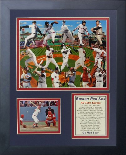 Legends Never Die Boston Red Sox Greats Framed Photo Collage, 11 by 14-Inch - Sox Art Glass