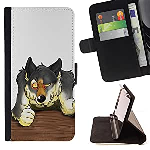DEVIL CASE - FOR Samsung Galaxy S5 Mini, SM-G800 - Wolf Bar Fight Forest Animal Dog Drawing - Style PU Leather Case Wallet Flip Stand Flap Closure Cover