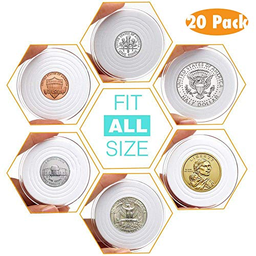 (AukeyStar Round Clear Plastic Coin Holders Collectors Storage Capsules 16mm-40mm Adjustable Inner Diameter Fit All USA Coin-Cent/5 Cent/Dime/Quarter/Half Dollar/Dollar, 5 Types Mixed, 20 Pack Totally)