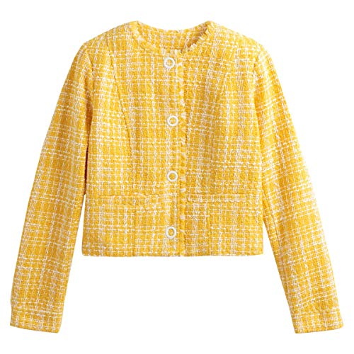 La Redoute Collections Womens Cropped Collarless Jacquard Jacket Yellow Size US 14