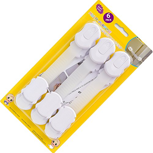 Refrigerator Door Locks for Baby Child Safety with Top Latches Fridge Protector to Stop your Munchkin Monkey from Disaster - also works on Folding Cabinets, Cupboard, Drawers for Protective Purposes (Bubbles Strap Top)