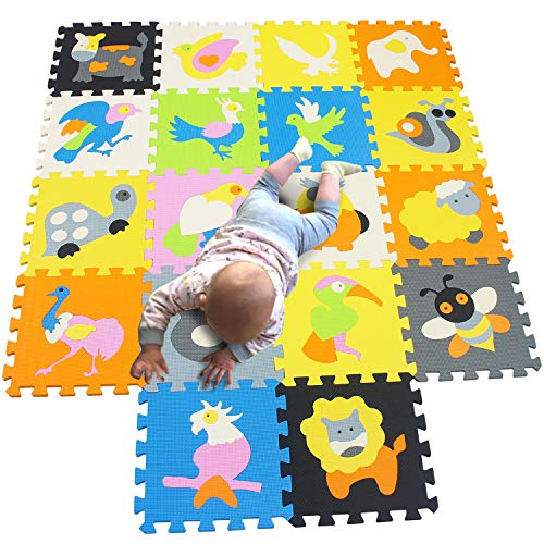 MQIAOHAM playmat Crawling for Baby Play Foam mat Tiles Kids Playground mats Children Jigsaw Floor Gym playmats Interlocking Puzzle Carpet Matting Animal Bird P1132G3010