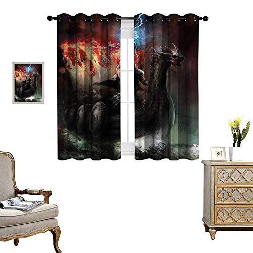 - WinfreyDecor Fantasy World Room Darkening Wide Curtains Thunder Wrath in Viking Thorn Ship Floating in Fiery Waves Odin Narrative Customized Curtains W72 x L72 Grey Orange