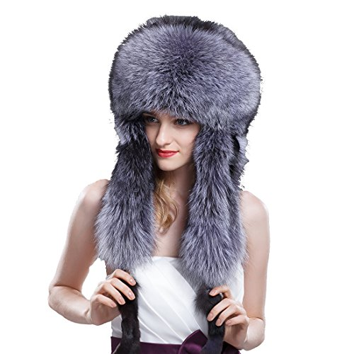 URSFUR Women's Silver Fox Full Fur Russian Ushanka Trapper Hats Natural Color) by URSFUR