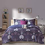 4 Piece Girls Navy Blue Purple Paisley Coverlet Twin XL Set, Fun Girly All Over Floral Damask Motif Medallion Bedding, Multi Boho Chic Bohemian Flower Themed Pattern, Off White Light Plum Violet