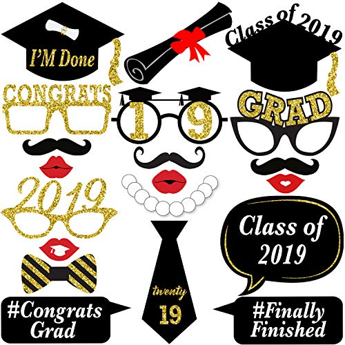 No-DIY Graduation Photo Booth Props - Real Glitter | Pre Assembled | Graduation Party Supplies 2019 Graduation Party Decorations | Class of 2019 Decor | Black and Gold Graduation Decorations -