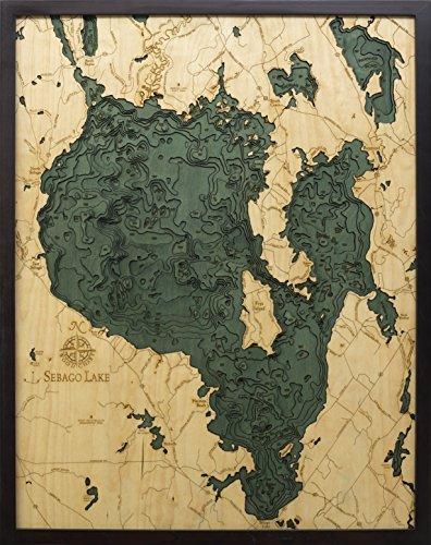 Sebago Lake, Maine 3-D Nautical Wood Chart, 24.5