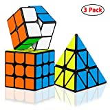 Dreampark Speed Cube Bundle [3 Pack] 2x2x2 3x3x3 Pyramid Sticker Magic Cube Set
