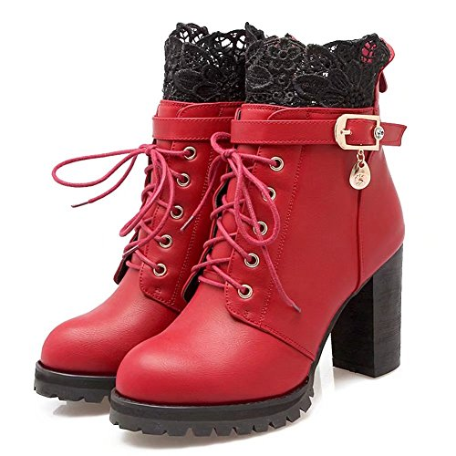 KingRover Women's Fashion High Heels Platform Pump Lace Up Decorative Leather Ankle Boots Red Qyor11SlM