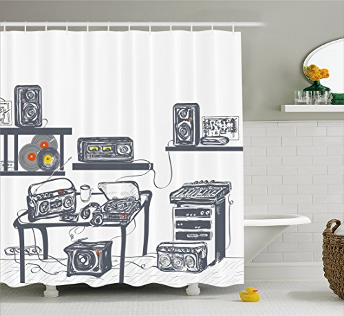 Ambesonne Modern Shower Curtain, Recording Studio with Music