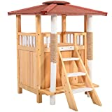 LAZYMOON Medium Outdoor Wooden Puppy Kitten Condo House Pet Shelter Roof Puppy Stairs Balcony