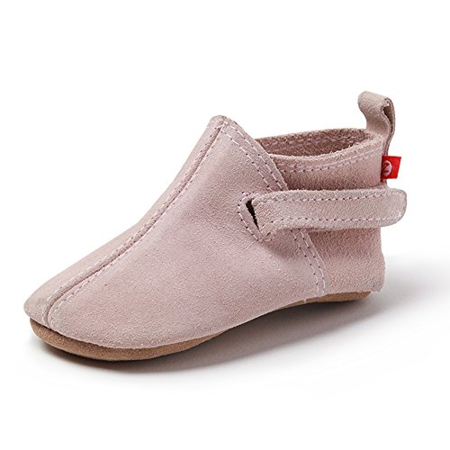 Zutano Unisex-Baby Leather Baby Shoes 12M (6-12 Months), Dusty Pink Suede