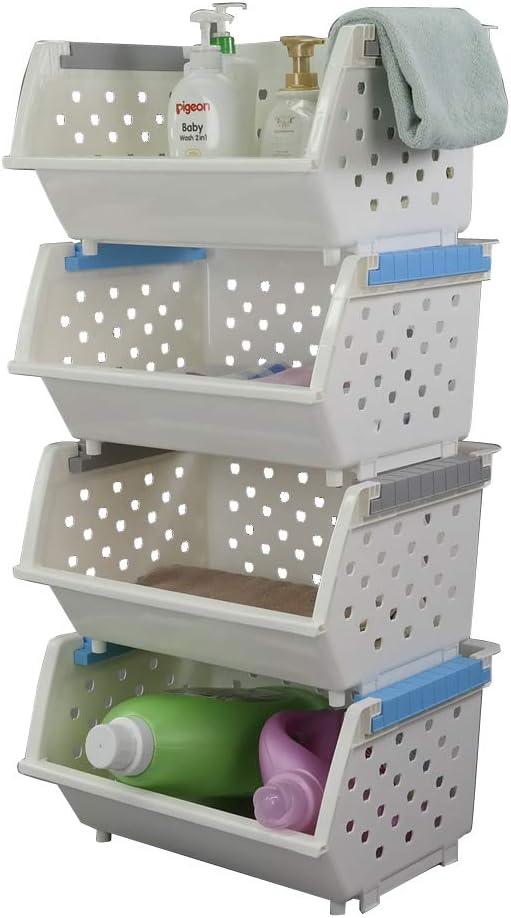 Kekow Plastic Large Stacking Basket Organizer, 4-Pack Multipurpose Stackable Storage Bins, White