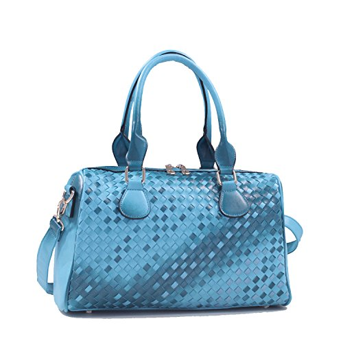 Isabelle Classic Woven Leather Zip Satchel Handbag - Blue (Satchel Woven Zip Top)