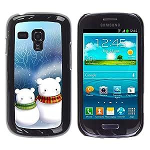 Exotic-Star ( Cute Snow Men Friends Christmas ) Fundas Cover Cubre Hard Case Cover para Samsung Galaxy S3 III MINI (NOT REGULAR!) / I8190 / I8190N
