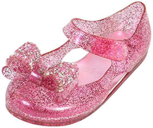 first steps Girls Glitter Jewel Bow Mary Jane Jelly Shoes, Light Pink, 7 M US ()