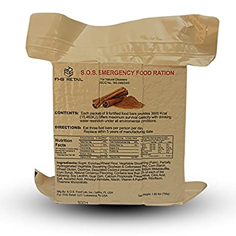 S.O.S. Rations Emergency 3600 Calorie Cinnamon Flavor Food Bar - 3 Day / 72 Hour Package with 5 Year Shelf Life- 1 - 3 Day Emergency Survival Kit