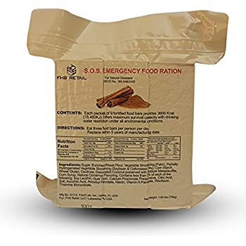 S.o.s. Rations Emergency 3600 Calorie Food Bar - 3 Day / 72 Hour Package with 5 Year Shelf Life 3 Pack