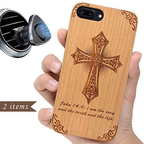 iProductsUS Religious Phone case Compatible with iPhone 8 7 6/6S (Regular Size) and Magnetic Mount - Wood Phone Cases Engraved Cross Bible,Built in Metal Plate,TPU Shockproof Protective Cover (4.7