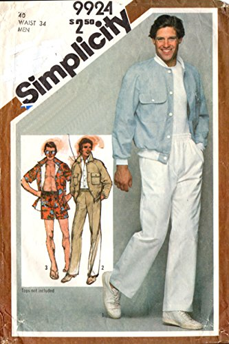 Simplicity vintage 1980s sewing pattern 9924 Men's baseball jacket and elastic waist pants - Chest 40