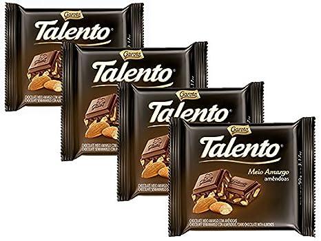 Amazon.com : GAROTO Talento Chocolate 90 gr. each - PACK of 4. (Chocolate com Catanhas do Para, 4 Pack) : Grocery & Gourmet Food