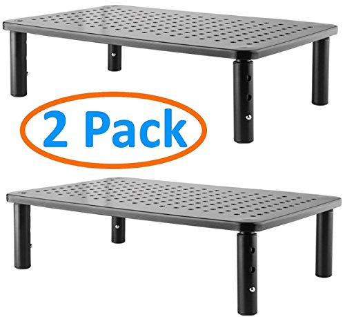2 Pack Premium Laptop PC Monitor Stand with Sturdy, Stable Black Metal Construction. Fashionable Riser Height Adjustable with Non-Skid Rubber. Perfect for Computer Monitor iMac Stand or Computer Shelf (Best Adjustable Monitor Stand)