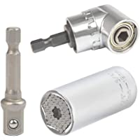QLOUNI 3 sztuki klucz nasadowy, 7-19 mm uniwersalny klucz z adapterem, zestaw kluczy nasadowych z śrubokrętem kątowym…