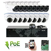 GW Security 16CH 5 Megapixel 1920P Video Home Security Camera System, 8pcs HD 1920p 5MP Outdoor Bullet & 8pcs Dome IP Camera ,80-120ft Night Vision, 330ft Transmit Range, 4TB HDD