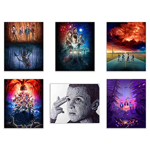 Stranger Things Netflix Poster Prints - Set of Six 8x10 Season Two Photos - Featuring Millie Bobby Brown as Eleven, Dustin, Mike, Lucas, Will