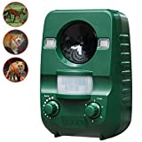 Ultrasonic Animal Cat Repeller, Solar Powered Rechargeable Battery Waterproof Motion Activated Animal Repellent Scarer Deterrent, Animal Control for Cat Dog Squirrel Raccoon in Garden Yard Lawn