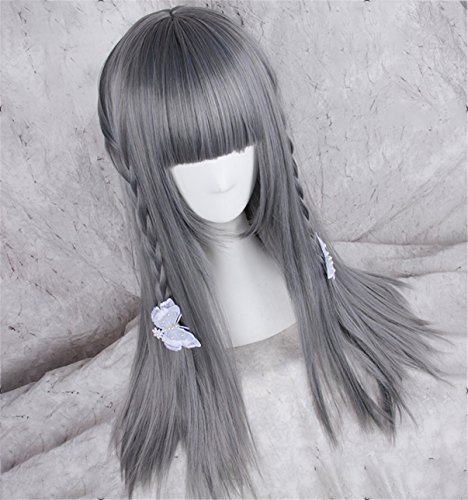 Katarina Lol Cosplay Costume (Suuny Queen LOL Katarina Cosplay Wig Grey Straight Hair Long Synthetic Hair wigs)
