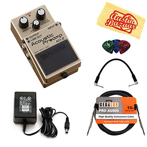 Boss AD-2 Acoustic Preamp Bundle with Power Supply, Instrument Cable, Patch Cable, Picks, and Austin Bazaar Polishing Cloth