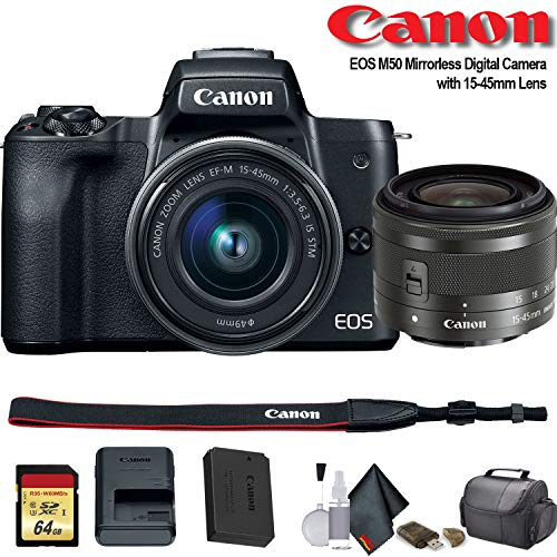 Canon EOS M50 Mirrorless Digital Camera with 15-45mm Lens (International Model) (2680C011) – Starter Bundle
