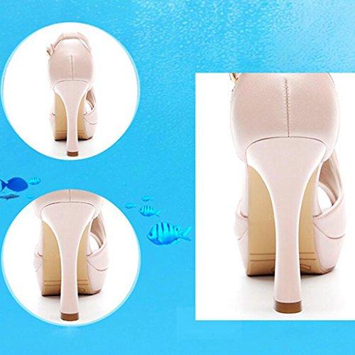 Helen Sandali femminili estate con tacchi alti scarpe singole impermeabili (rosa) ( dimensioni : 38 yards )
