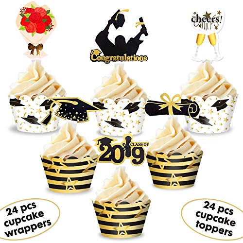Graduation Cupcake Toppers and Wrappers 2019 Glitter Cake Decorations Black and Gold for Senior, High School, College Graduation Party Supplies Favors 24sets]()