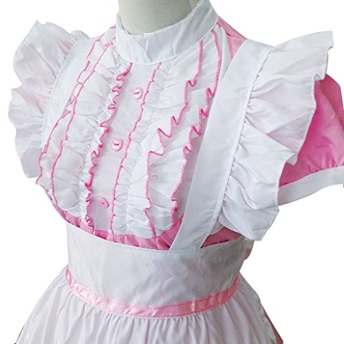 Colorful House Women's Cosplay Cat Ear French Apron Maid Fancy Dress Costume (Medium, Pink (with Petticoat)) by Colorful House (Image #3)