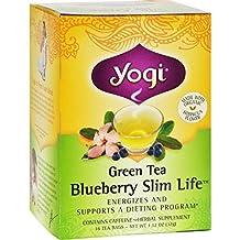 Green Slim Life Herbal Tea Blueberry - 16 Tea Bags - Case of 6 by Yogi