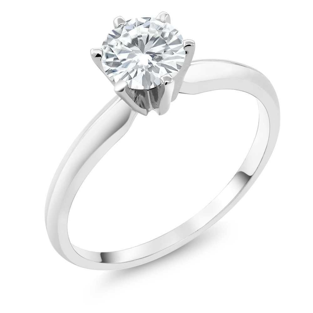 Charles & Colvard Forever Classic 6mm 0.80ct DEW Created Moissanite 14K White Gold Engagement Solitaire Ring (Size 7) by Gem Stone King