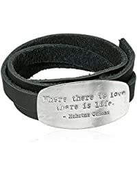 Classic Everyday Fashion Mahatma Gandhi Inspirational Quote Engraved Love Wrap Leather Bracelet in Silver Tone Plating
