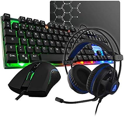 The G-Lab Combo Gallium E-Pack Gaming 4 en 1 - Teclado Gaming QWERTY – Incluye Ñ-Retroiluminado, Ratón Gaming de 2400 dpi, Auriculares Gaming, Alfombrilla de Ratón Antideslizante – PC PS4 Xbox One: