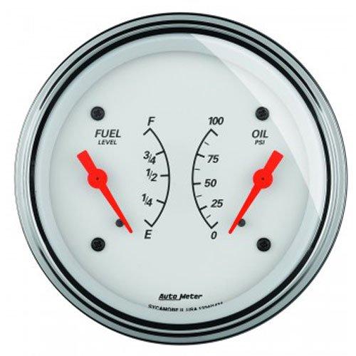 Auto Meter 1313 Arctic White Oil/Fuel Dual Gauge by Auto Meter