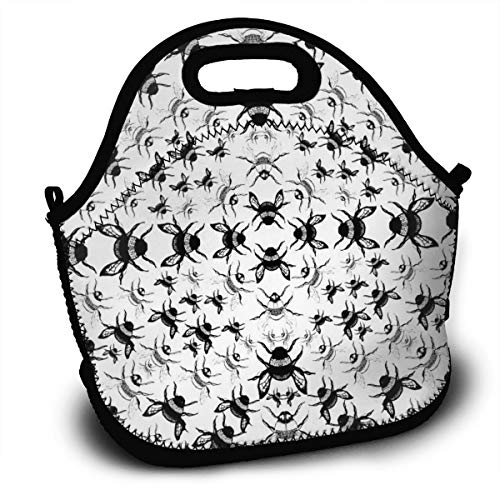Dejup Lunch Bag Bees Pattern Tote Reusable Insulated Lunchbox, Shoulder Strap with Zipper for Kids, Boys, Girls, Women and Men ()