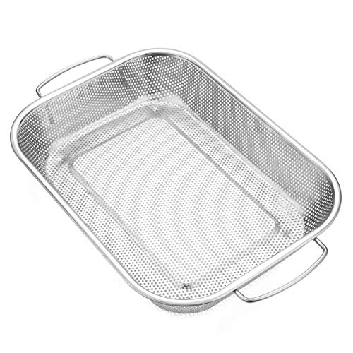 ZHONGJING Micro-perforated Grill Basket - BBQ Stir Fry Accessories for Grilling Vegetable, Seafood, Meat, Kabob, or Pizza - Use as Wok, Pan, or Smoker - 18/8 304 Stainless Steel - Camping Cookware - by ZHONGJING