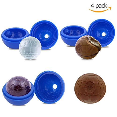 Ice Cube Ball Mold Ice Ball Maker 4 Pack Large Flexible Silicone Ice Cube Tray for Lovers Round Ice Ball Spheres