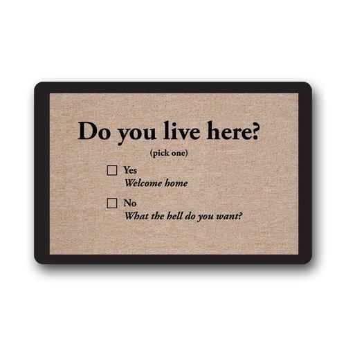 Custom Machine-washable Door Mat Funny Words Do you Live Here Indoor/Outdoor Doormat 23.6(L) x 15.7(W) Nicedesigned