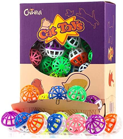 """CHIWAVA 48PCS 1.6"""" Cat Toy Ball with Bell Plastic Lattice Jingle Balls Kitten Chase Pounce Rattle Toy Assorted Color"""